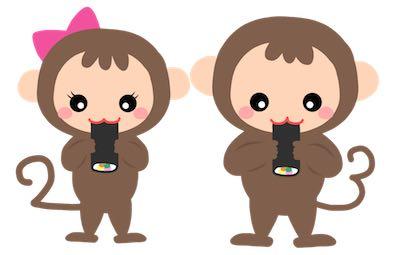 猿_恵方巻き_イラスト